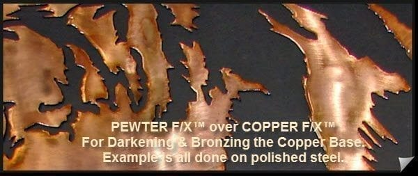 copper patina on steel-darkening